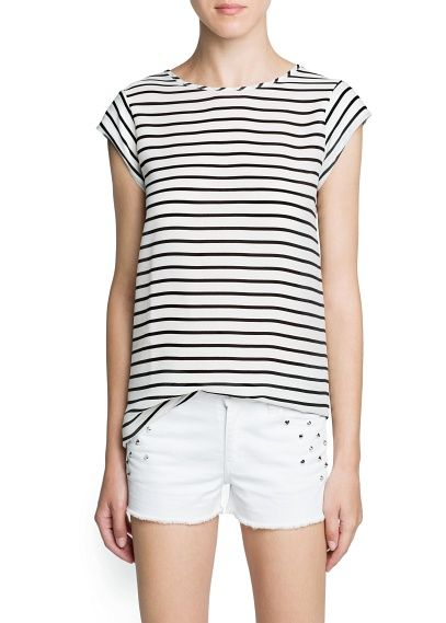 Mango  Striped Chiffon Panel T-Shirt