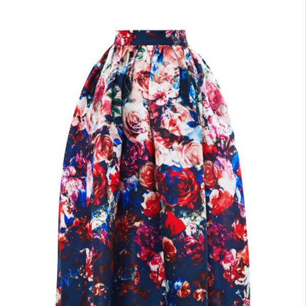 MSGM  Floral-Print Gazar Midi Skirt