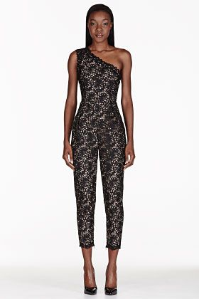 Stella McCartney  Black One Shoulder Lace Overlay Jumpsuit