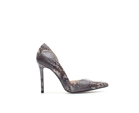 Zara  Snakeskin Leather High Heel Court Shoes