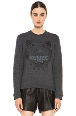 Kenzo  Embroidered Tiger Marl Sweatshirt