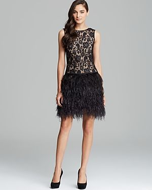 Cynthia Steffe  Lace & Ostrich Feather Skirt Dress