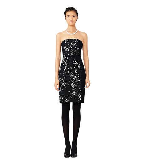 Kate Spade Saturday Strapless Panel Dress in Black Star Cluster