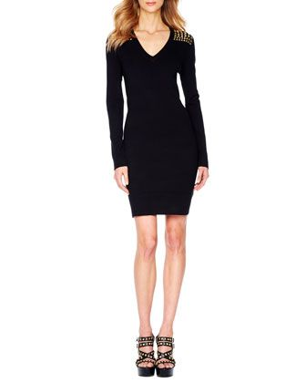MICHAEL Michael Kors  Squared-Studded V-Neck Dress