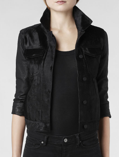 AllSaints  Pony Whitting Cropped Leather Jacket