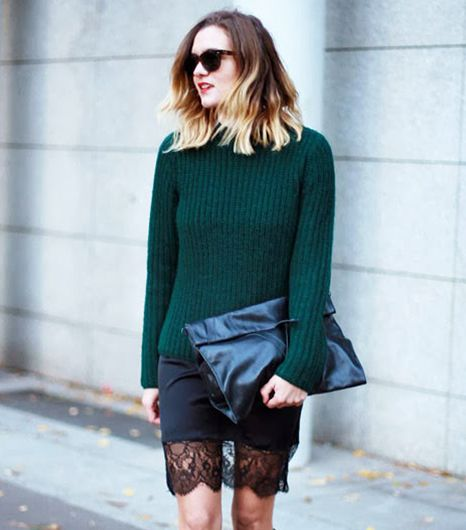 Easy Outfit Idea: Sweater + Lace Slip