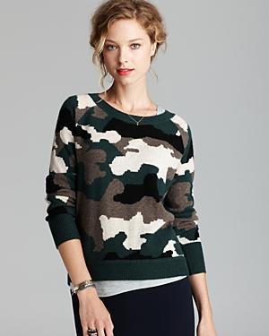 Aqua  Camo Instarsia Cashmere Sweater