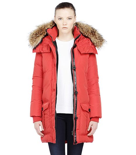 Mackage Chaska Long Coral Down Parka Coat with Fur Trimmed Hood