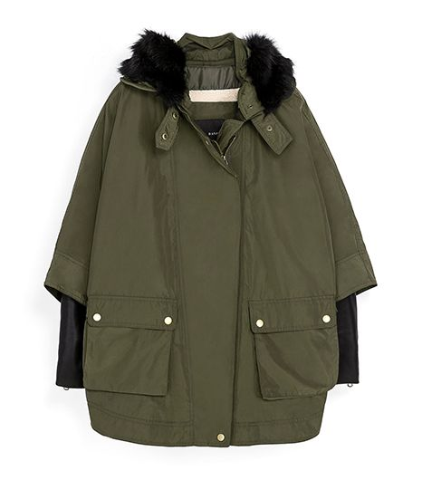 Zara Faux Leather Combination Parka