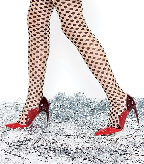 Planning a house party?  There's no place like home to whip out this wildcard combination of ruby-red patent leather pumps and polka dot tights.