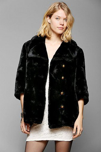 Urban Outfitters  Cropped Faux Fur Coat