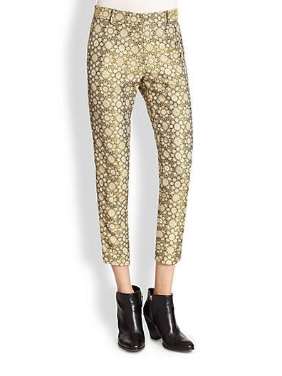 Suno  Floral Jacquard Cropped Pants