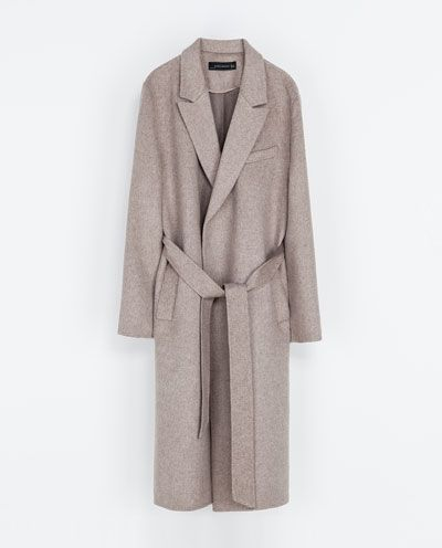 Zara  Coat with Lapels and Belt