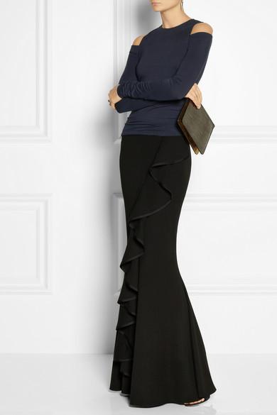 Donna Karan  Modern Icons Ruffled Stretch-Knit Maxi Skirt