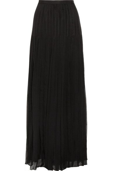Oscar de la Renta Crinkled Silk-Chiffon Maxi Skirt