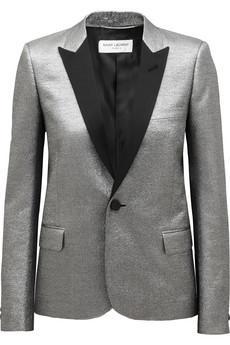 Saint Laurent  Metallic Jacquard Tuxedo Jacket