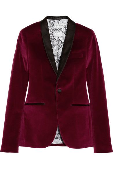 Each X Other  Satin-Trimmed Velvet Tuxedo Blazer