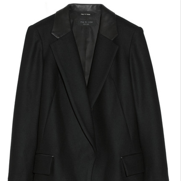 Rag & Bone  Dust Bowl Leather-Trimmed Wool-Blend Coat