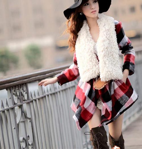 Stylish Plus Turn-Down Collar Plaid Coat