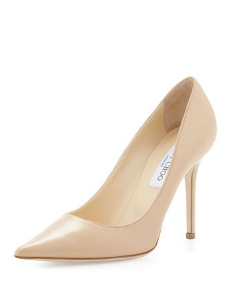 Jimmy Choo  Abel Leather Pointy-Toe Pumps
