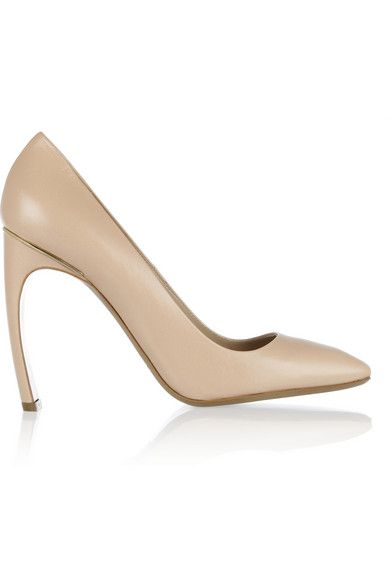 Nicholas Kirkwood  Square-Toe Glossed-Leather Pumps