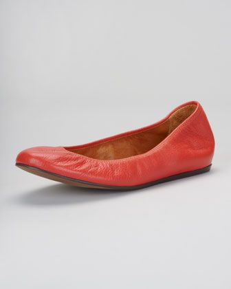 Lanvin  Scrunch Leather Ballerina Flats