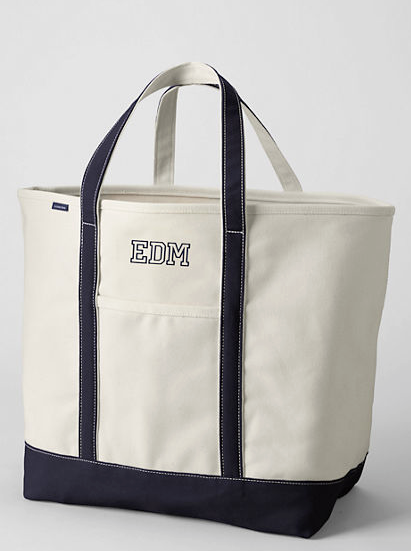 Lands' End  Extra Large Natural Open Top Canvas Tote