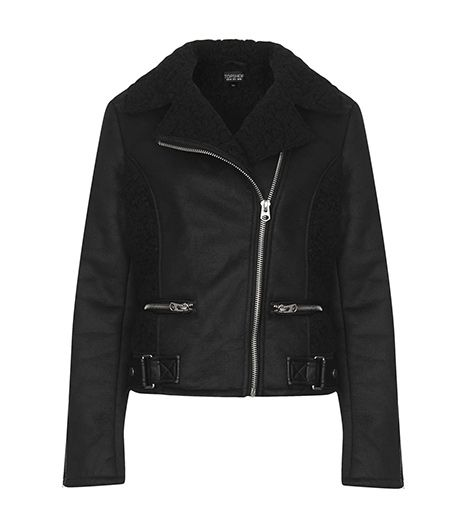 Topshop  Faux Shearling Mix Biker Jacket