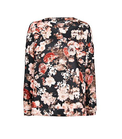Mango  Floral Print Quilted Sweatshirt