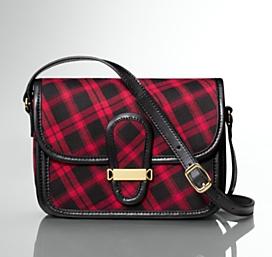 Talbots Buffalo Plaid & Leather Tab Flap Shoulder Bag
