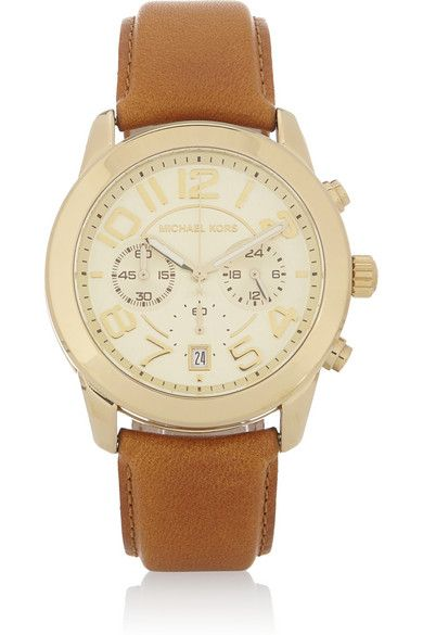 Michael Kors   Mercer Gold-Tone and Leather Chronograph