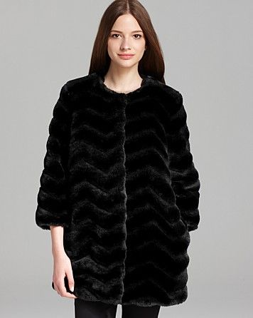Sam Edelman  Lucy Chevron Faux Fur Coat