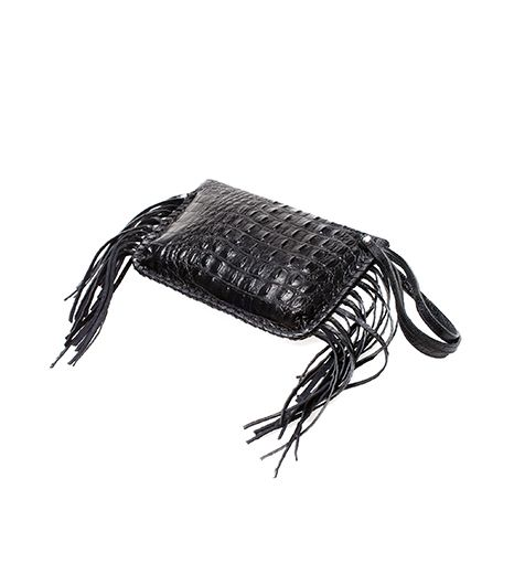 Zara Crocodile Print Leather Clutch With Fringes