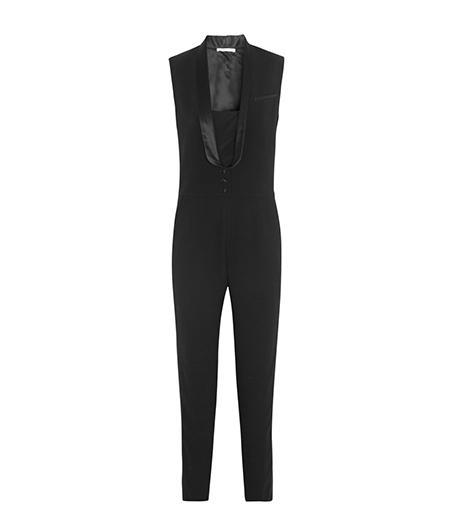 Maje Elfie Satin-Trimmed Crepe Tuxedo Jumpsuit