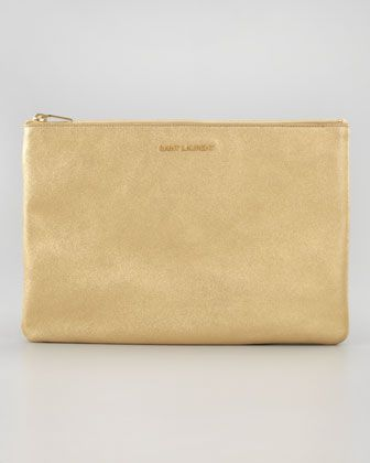 Saint Laurent  Letters Medium Metallic Zip Clutch