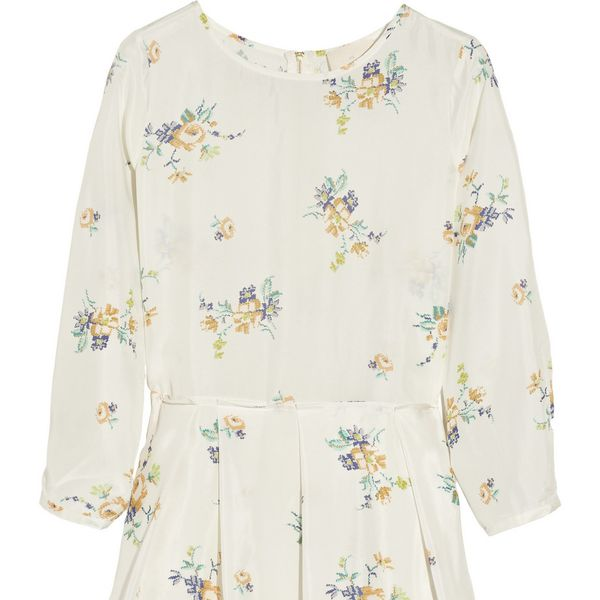 Band Of Outsiders  Floral-Print Silk-Habotai Dress