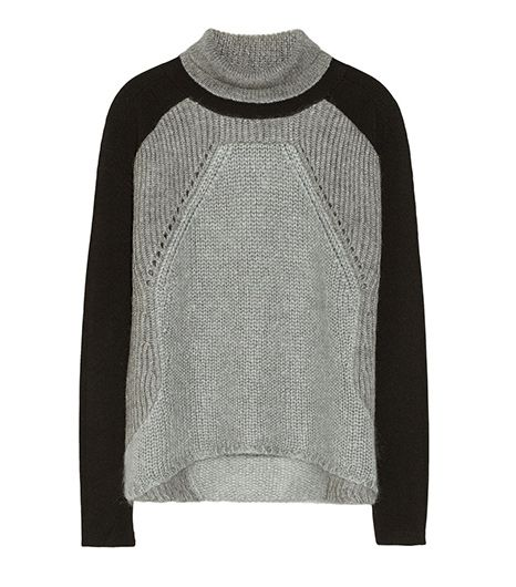 Helmut Lang Ribbed Knitted And Ponte Turtleneck Sweater
