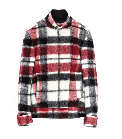 Zara Double Breasted Checked Woollen Three Quarter Length Coat