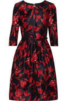 Oscar de la Renta For The Outnet  Floral-Print Silk & Cotton-Blend Dress