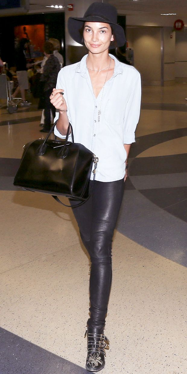 Lily Aldridge's Edgy Airport Look