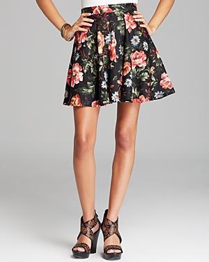 Aqua  Floral Linen Skirt