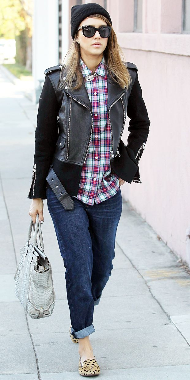 Jessica Alba's Must-Try Plaid & Leopard Combo