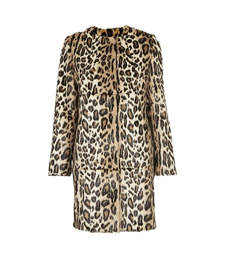 Topshop Faux Fur Animal Print Coat