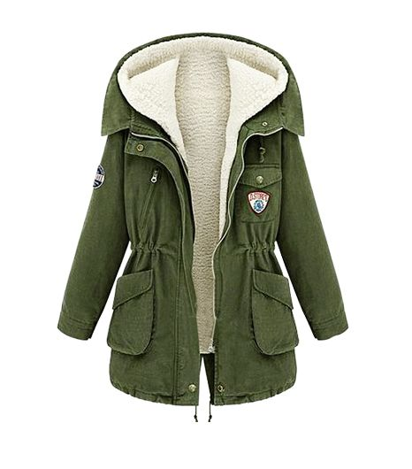 SheInside Army Green Hooded Long Sleeve Pockets Tow Pieces Coat