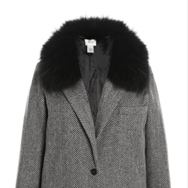 Kule  Herringbone Coat with Detachable Fox Fur Collar