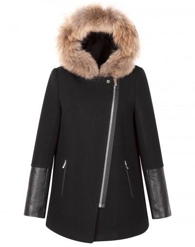 Sandro  Maddy Fur Hood Coat