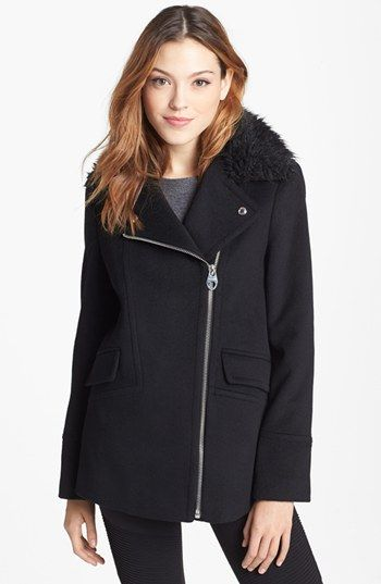 Calvin Klein  Faux Fur Collar Wool Blend Moto Jacket