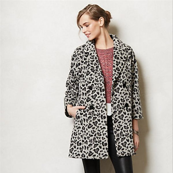 Anthropologie  Leopard Trapeze Coat