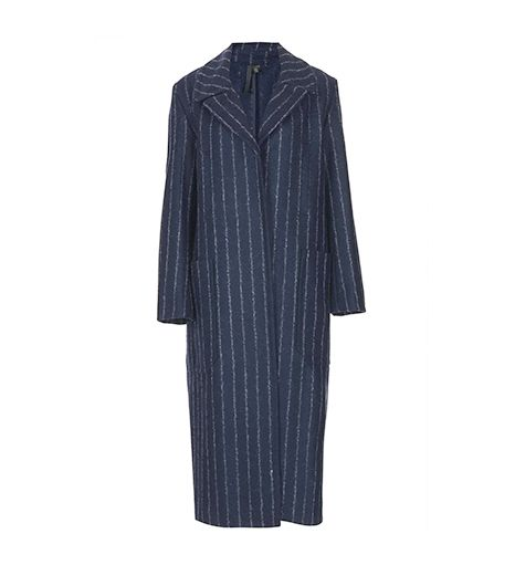 Topshop Boutique Navy Striped Wool Coat