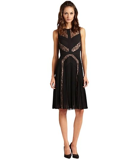 BCBGMAXAZRIA Pleated Lace-Panel Dress ($398)